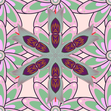 Exploding flowers abstractly placed. Vector illustration pattern. Gentle, spring floral on colored background.