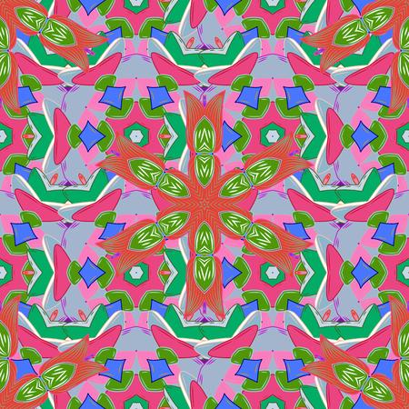 Ornamento rotondo con rami, fiori e riccioli intrecciati. Arabesco. Modello mandala astratto circolare vettoriale. Mandala colorata su un baqckground.
