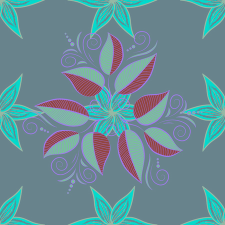 Vector pattern. Gentle, spring floral on colored background. Exploding leaves abstractly placed. Vector illustration. Illustration