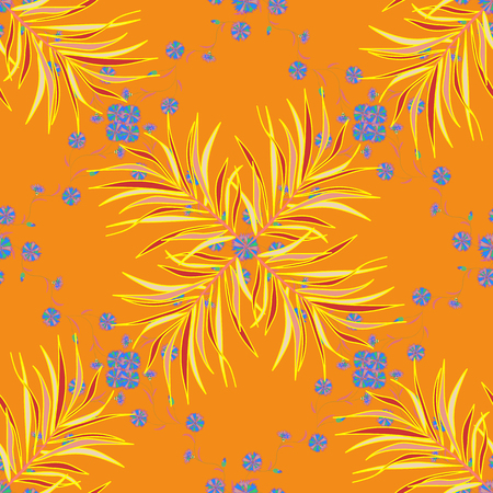 Flat Flower Elements Design. Floral fantasy design on a bright background seamless pattern. Colour Spring Theme seamless pattern Background.