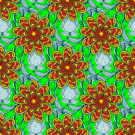 Ornate  seamless texture, abstract flowers. Seamless pattern with stylized flowers. Stripe petals flowers. Floral pattern can be used for sketch, pattern fills, web page background.