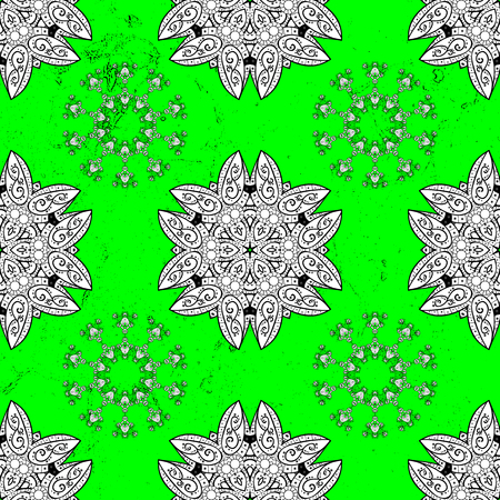 Vector pattern. Backdrop, fabric, white sketch. Flat hand drawn vintage collection. Pattern on green and white background with white elements.