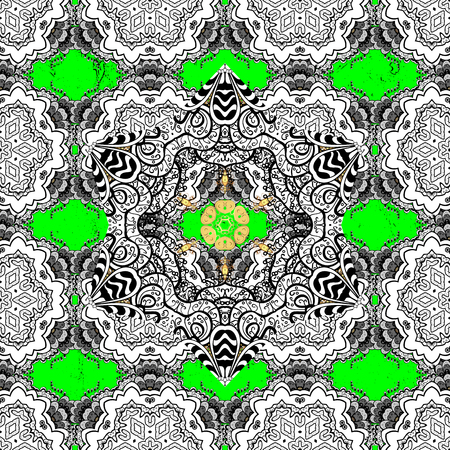 Antique white repeatable sketch. Damask pattern repeating background. Green, gray, golden and white floral ornament in baroque style. Elements on green and white background.