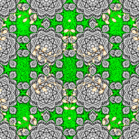 Green and white background with elements. Floral pattern. Vector white floral ornament brocade textile pattern. White pattern.