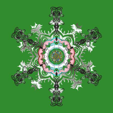 スノーフレークのベクトル図です。マンダラ。スノーフレークは、緑の背景に分離されました。雪の結晶のアイコンです。
