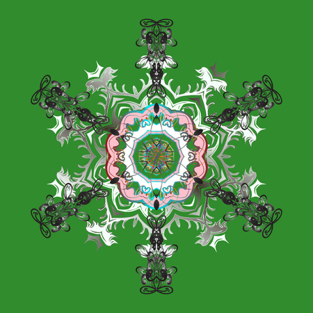 Snowflake Vector illustration. Mandala. Snowflake isolated on green background. Snowflake Icon.