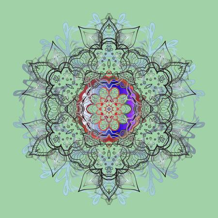 contoured: Snowflake Vector illustration. Snowflake Icon. Winter floral mandala. Snowflake isolated on blue background.