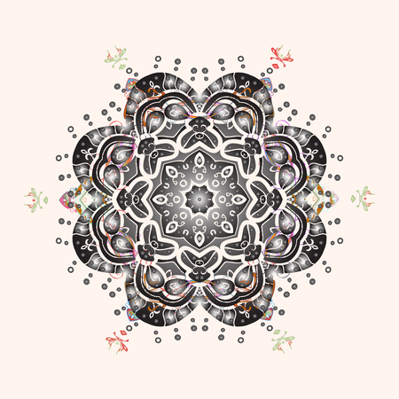 Oriental vector pattern with arabesques and floral elements. Traditional classic ornament. Vintage pattern with arabesques. Illustration