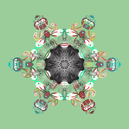 Contour mandala shaped snowflakes for art therapy style zen drawing. Hand-drawn, stylish doodle in tatto style, fabric design and cards in Vector illustration.
