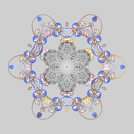 Patrón Ornamental Copo De Nieve. Ilustración Vectorial. Copos De ...