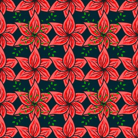 Flores encendidas Patrón de fondo transparente. Acuarela, dibujado a mano. Vector de stock. Ilustración de vector