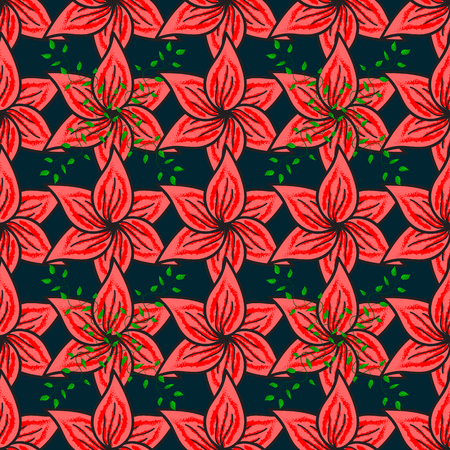 Flowers on. Seamless background pattern. Watercolor, hand drawn. Vector stock. Vetores