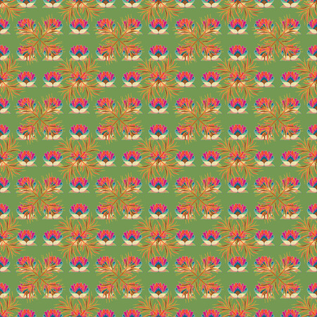 On colored background in watercolor style. Seamless spring pattern with Flowers, little flowers. Vector illustration.