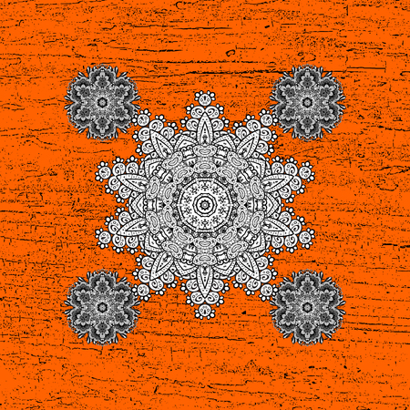 White orange floral ornament in baroque style. Antique white repeatable sketch.White element on orange background. Damask pattern repeating background. Illustration