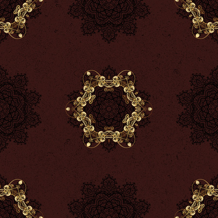 Seamless vector background. Sketch baroque, damask. Graphic modern seamless pattern on brown background. Seamless floral pattern.