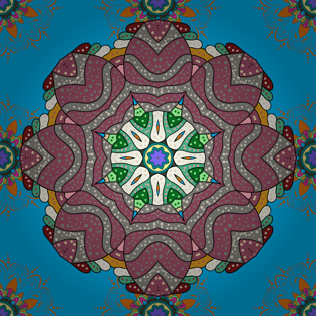 Vector abstract stylized colored mandala. Intricate colored Arabesque with on a colorful background. Illustration