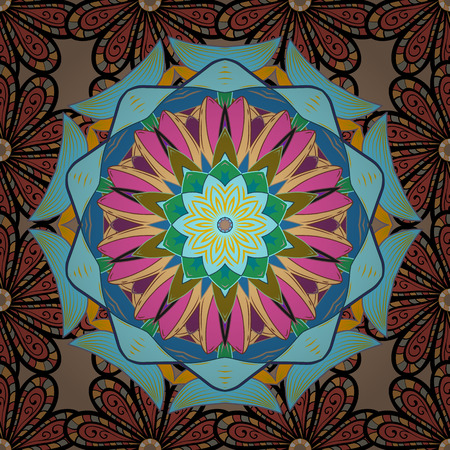 trendy tissue: Round ornament with intertwined branches, flowers and curls. Arabesque. Vector circular abstract mandalas pattern. Colored Mandala on a baqckground.