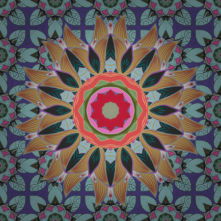 Art, round, colorful ornament on a colorful background. Ornate, eastern mandala with colored contour.