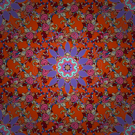 A Seamless pattern with bright flowering carpet of plants on a colored background.