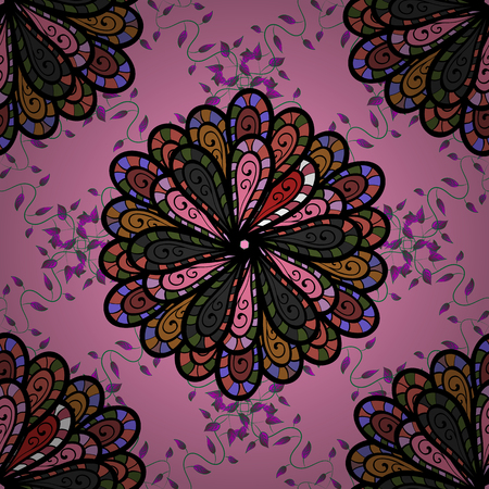 A Vector pattern. Art inspi style flowers and leaves background. Doodle flowers seamless pattern. Hand drawn pattern.