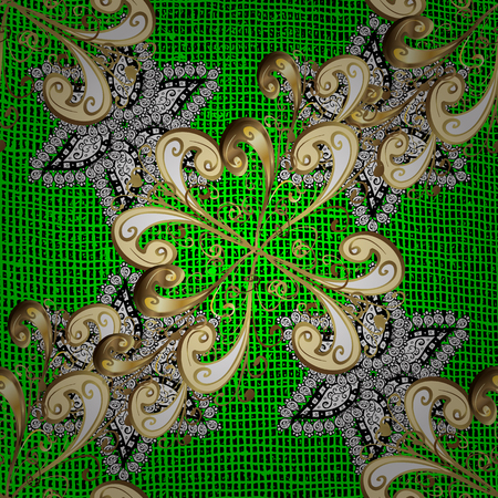 Oriental style arabesques. ?attern on green background with golden elements. Vector golden pattern. Golden textured curls.