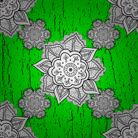 Damask pattern repeating background. Elements on green and white background. White, green and white floral ornament in baroque style. Antique repeatable sketch. Illustration