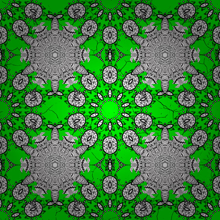Green and white and white pattern. Elegant vector classic pattern. Abstract background with repeating elements.