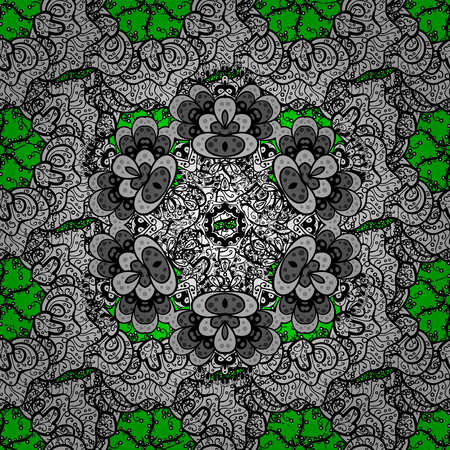 Openwork delicate pattern. Oriental style arabesques. White texture curls. Brilliant lace, stylized flowers, paisley. ?attern on green background with white elements. Vector. Illustration