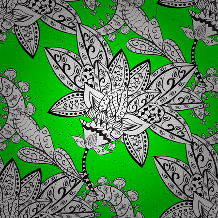 Pattern medieval floral royal pattern. White on green and white background. Vector illustration. Good for greeting card for birthday, invitation or banner. Decorative symmetry arabesque.