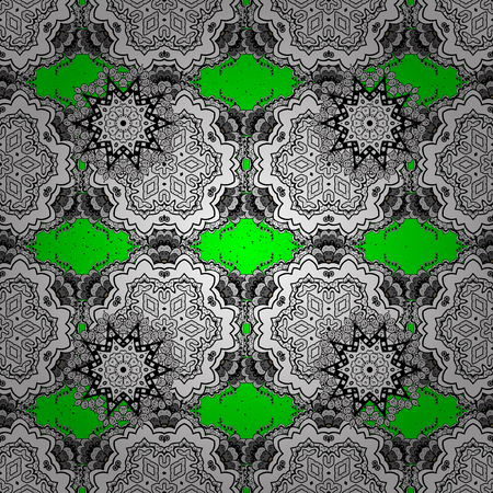 victorian christmas: Traditional classic white vector pattern on green and white background with white elements. Oriental ornament in the style of baroque.