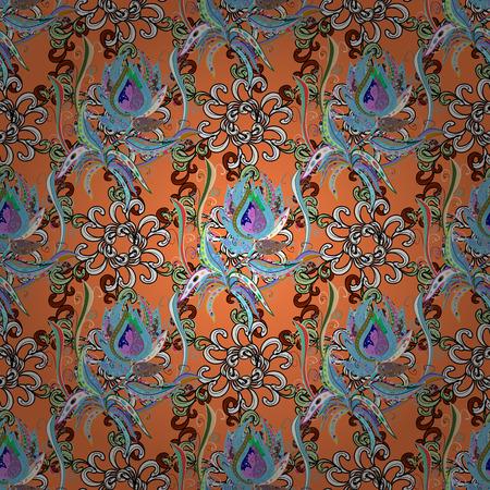 En estilo textil asiático. Ilustración vectorial Ilustración vectorial Patrón de flores sin fisuras. Flores en el fondo de color. Foto de archivo - 83133525