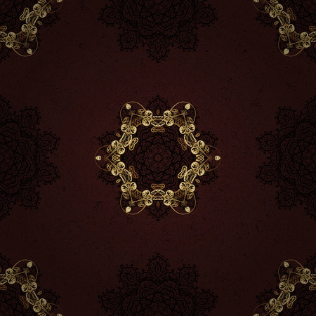 Seamless classic vector brown and golden pattern. Traditional orient ornament. Classic vintage background.