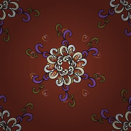 Arabesco. Mandala colorata su un baqckground. Modello circolare mandala astratto di vettore. Ornamento rotondo con rami intrecciati, fiori e riccioli.