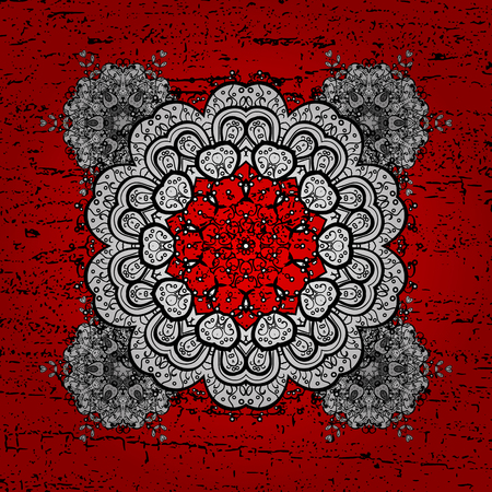 Pattern on red background with white elements. White pattern. Vector oriental ornament. Illustration