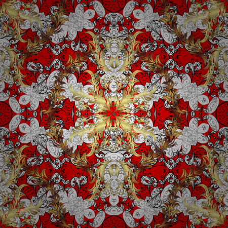 Damask pattern repeating background. White, white floral ornament in baroque style. Antique repeatable sketch. Elements on red background. Illustration