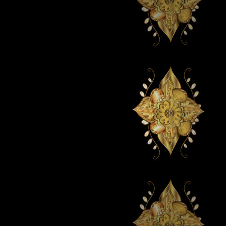 Seamless golden pattern. Vector oriental ornament. Seamless pattern on black background with golden elements.