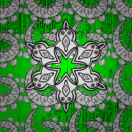 Oriental style arabesques. ?attern on green and white background with white elements. Brilliant lace, stylized flowers, paisley. White texture curls. Vector. Openwork delicate pattern. Illustration