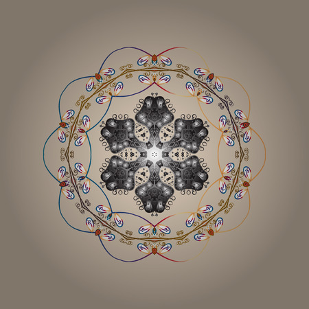 Fine winter ornament. Colorful snowflakes Vector illustration. Isolated of vector snowflake.