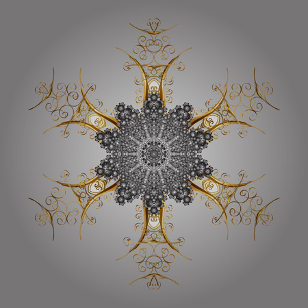 Christmas Stylized Snowflakes on a gray background. Vector illustration. Illustration
