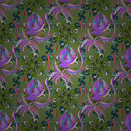 Amazing seamless floral pattern with bright colorful flowers and leaves on a colorful background. Folk style. The elegant the template for fashion prints. Modern floral background. Иллюстрация