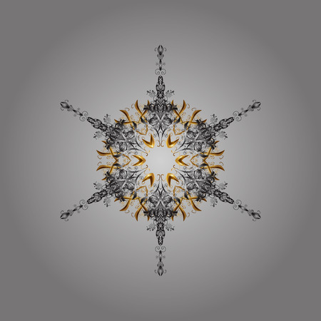 Snowflake ornamental pattern. Flat design with abstract snowflakes isolated on gray background. Vector illustration. Snowflakes pattern. Snowflakes background. Illustration