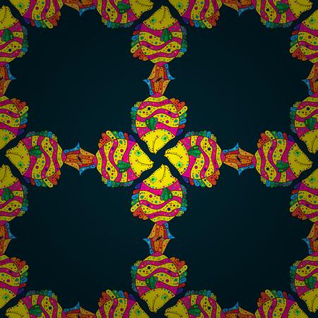 Sea fish on dark blue background. Pattern with fish. Vector illustration.