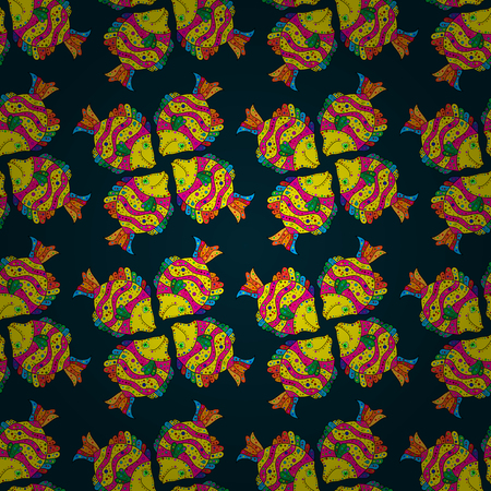 Fabric textile seamless pattern with sea fishes Vector illustration. On dark blue background with flowers.