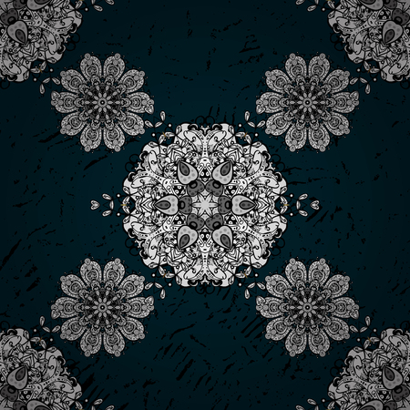 Damask classic pattern. Vector abstract background with repeating elements. Pattern on blue background with white elements.