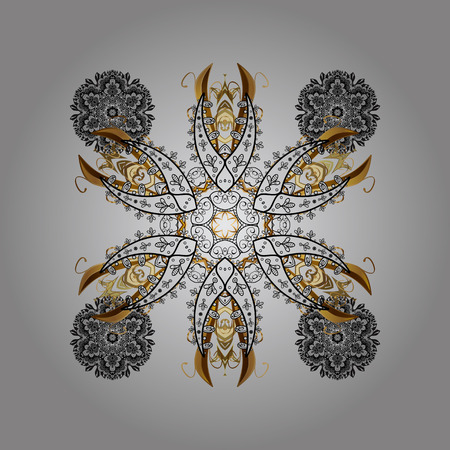 Winter concept. Winter pattern made of snowflake on gray background. Vector illustration. Flat lay.
