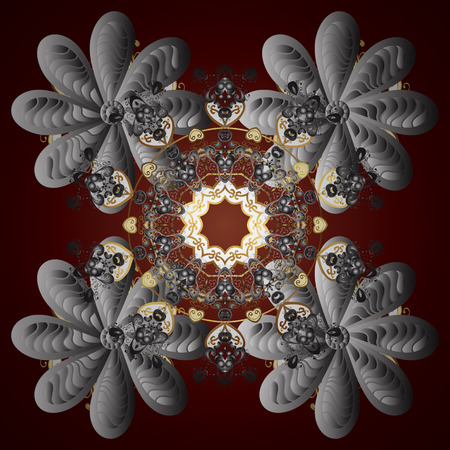 Winter snowflake. Snowflake isolated on red gradient background. Vector illustration. Snowflake Icon. Mandala.