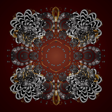 Decorative Texture Background of Mandalas. Vector illustration. Lacy Fashion Print for Textile. Ethnic of Lace Snowflakes. Design for Fabric or Sketch. Stylized Flowers. Folk Style.