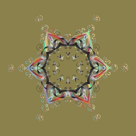 Snowflake Vector illustration. Winter mandala. Snowflake isolated on beige background. Snowflake Icon.