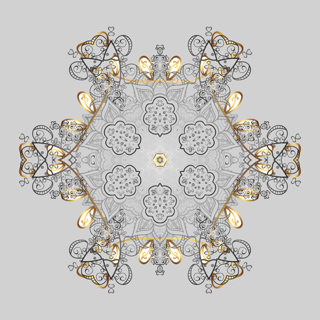 Vector illustration. Christmas Stylized Snowflakes on a gray background.