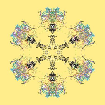 Vector illustration. Abstract mandala or whimsical snowflake line art design. Isolated cute snowflakes on colorful background. Ilustração